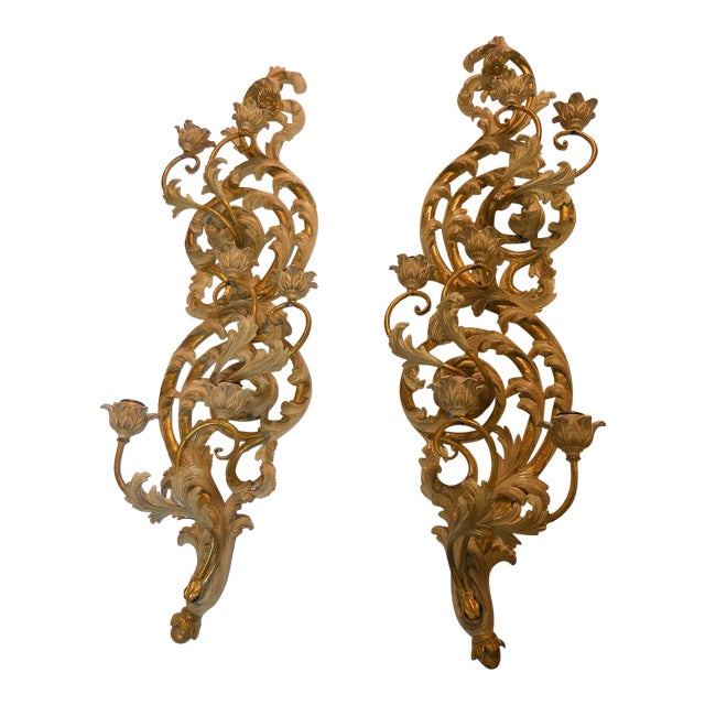 Italian Gilt Carved Wood Wall Sconces - A Pair - Image 1 of 9