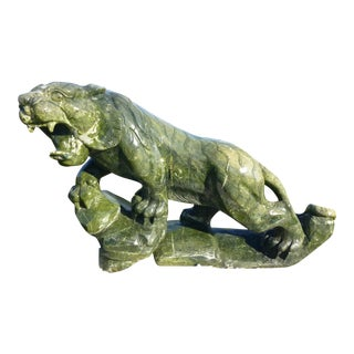 Late 20th Century Chinese Jade Tiger Statue For Sale