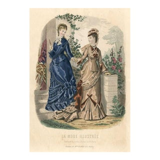 Victorian Fashion Print, 1875 Lithograph For Sale