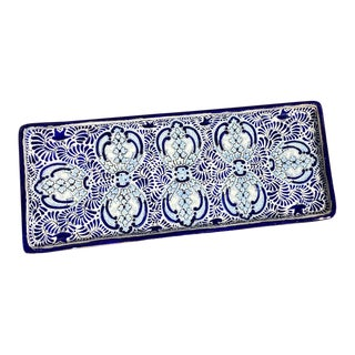 Early 21st Century Mexican Talavera Blue & White Serving Platter For Sale
