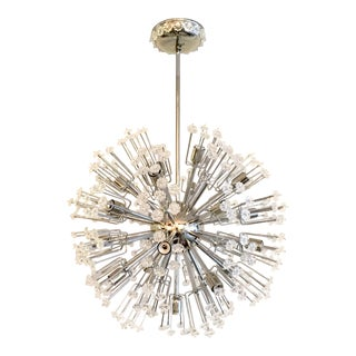 Mid-Century Modern Style Chrome Plated Sputnik Chandelier with Acrylic Rosettes For Sale