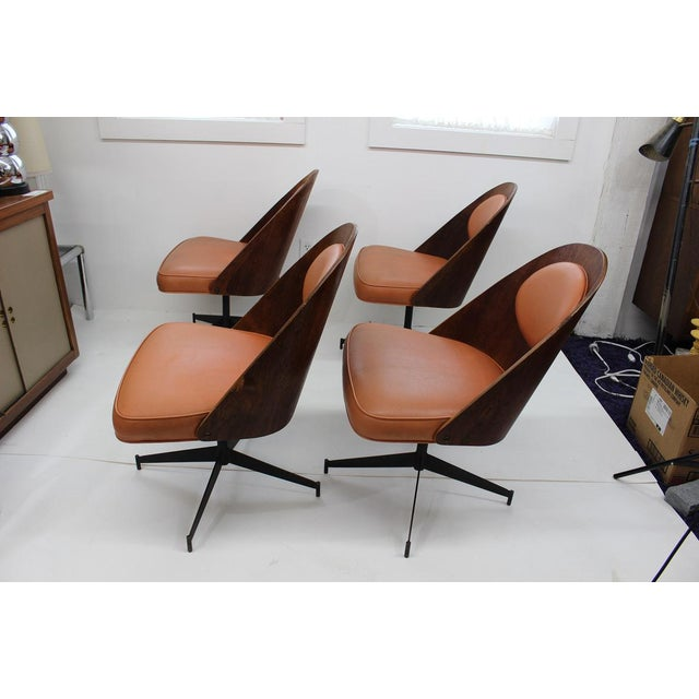 Mid Century Modern Bent Plywood and Vinyl Dining Chairs For Sale In Boston - Image 6 of 13
