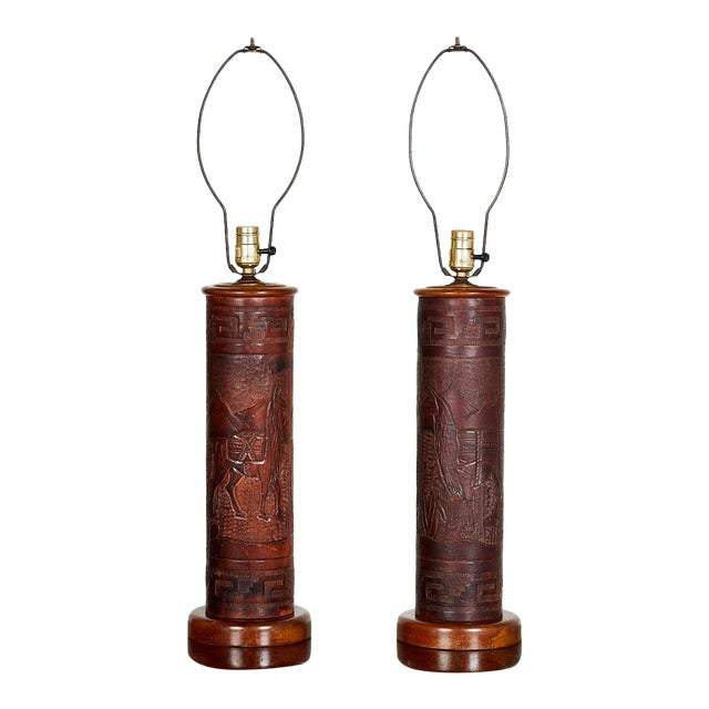 Pair of Vintage Peruvian Leather Lamps W/ Llama and Greek Key Decorations For Sale