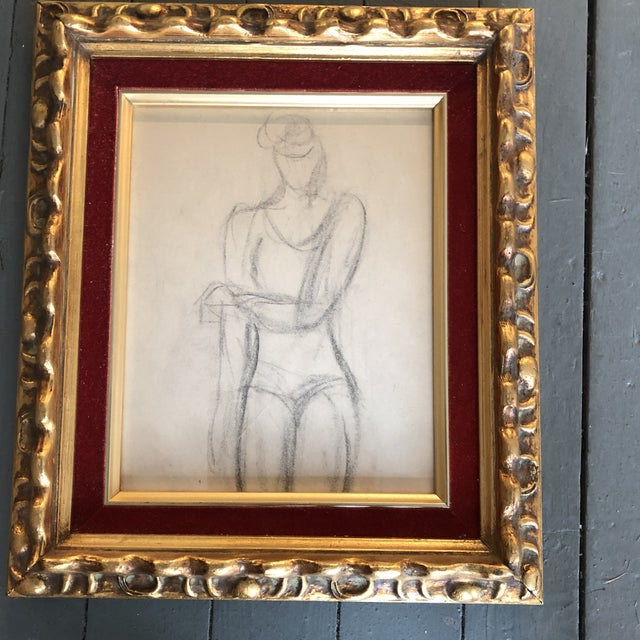 Gallery Wall Collection 3 Original Charcoal Female Portrait Studies For Sale - Image 4 of 6