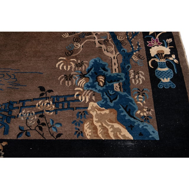 Early 20th Century Antique Art Deco Chinese Piking Wool Rug For Sale In New York - Image 6 of 13