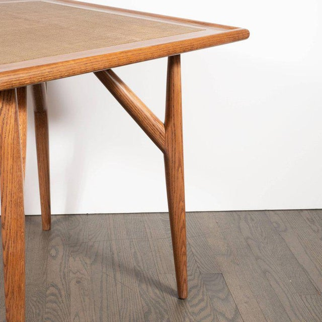 1960s Mid-Century Modern Sculptural White Oak Table With Wrapped Linen Top For Sale - Image 5 of 10