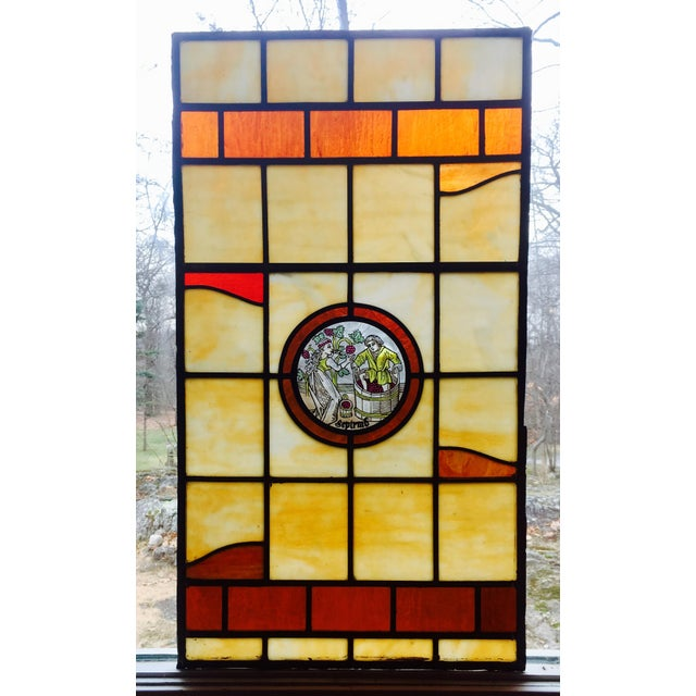 Vintage Stained Glass Harvest Panel - September - Image 2 of 7