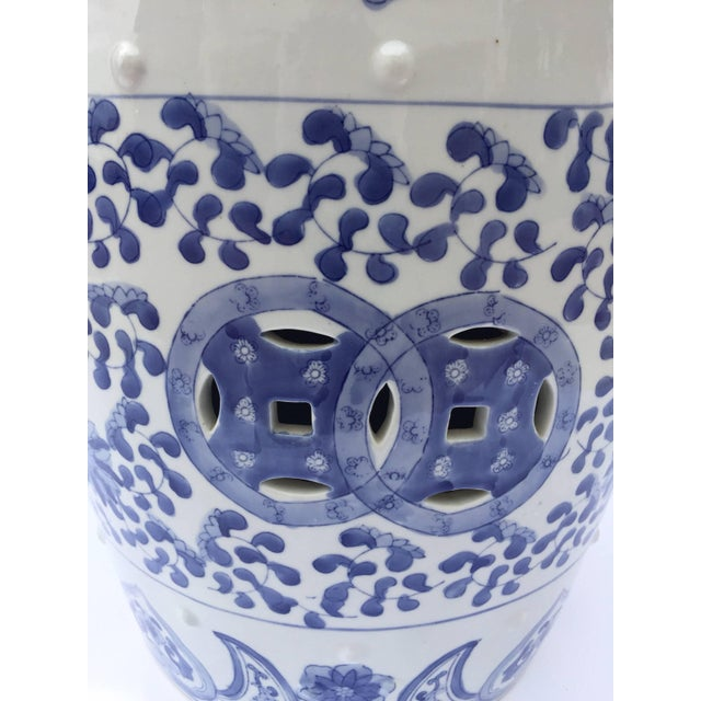 Chinese Porcelain Garden Seat in Blue and White Floral Motif For Sale - Image 12 of 13