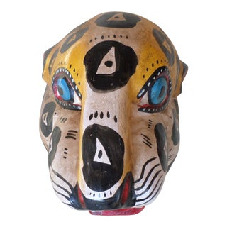 Mexican Hand-Carved and Painted Jaguar Mask For Sale