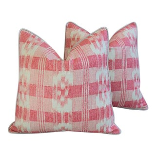 "22"" Custom Tailored Brunschwig & Fils Pink/White Feather/Down Pillows - Pair"
