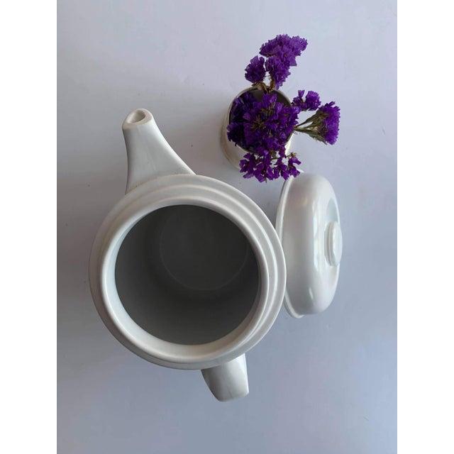 Mid-Century Modern Vintage Flammfest Thomas Rosenthal Germany Tea Coffee Pot White For Sale - Image 3 of 6