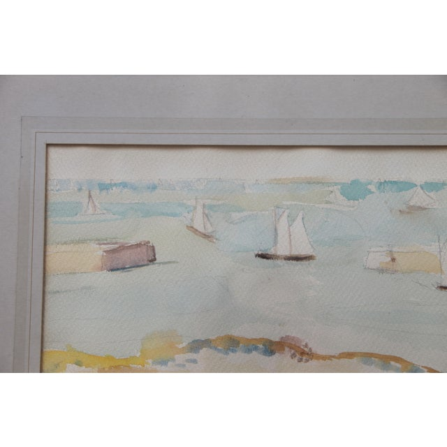 Mid-Century Seascape Watercolor by Liz Ide - Image 4 of 9