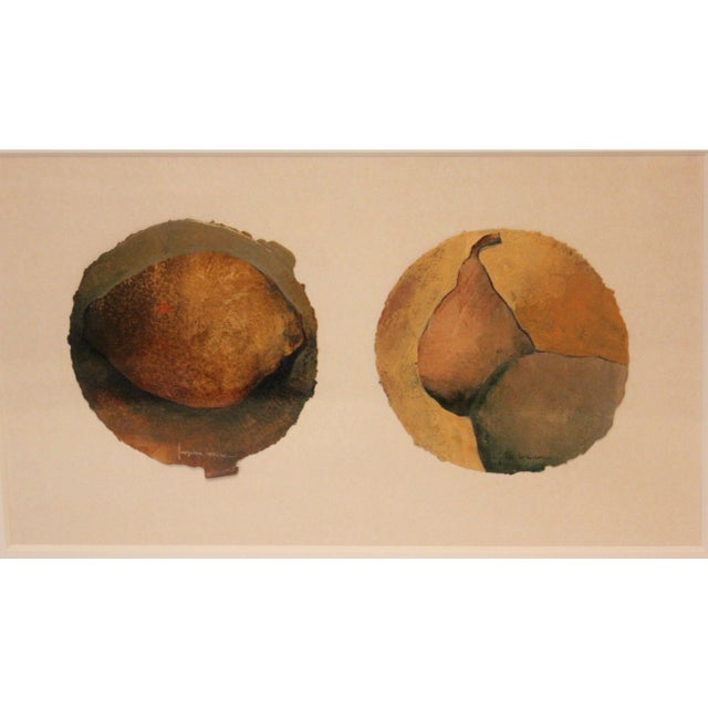 Spanish Small Oil Painting of Pears on Paper For Sale - Image 3 of 7