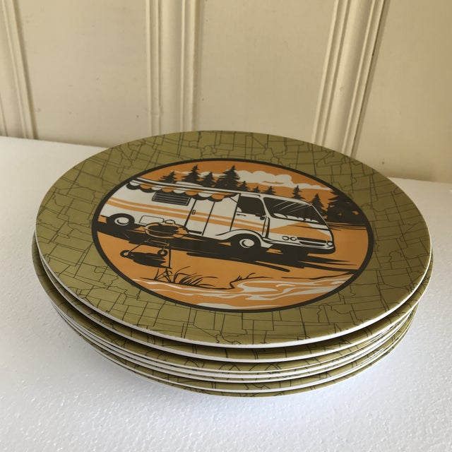 Fab set of eight acrylic camping, trailer park outdoor dinner plates with camper and barbecue graphics against a vintage...