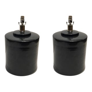Large Modern Graphite Glaze Cylinder Ceramic Table Lamps Pair For Sale