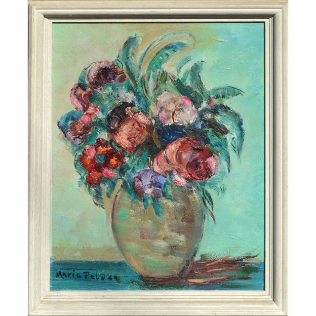 Mid-Century Floral Still Life For Sale - Image 4 of 4