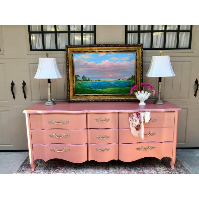 Vintage Drexel French Provincia Pink Triple Dresser For Sale In Savannah - Image 6 of 13