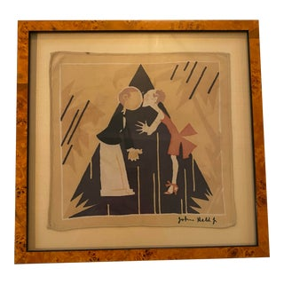 John Held Jr. Silk Scarf Framed For Sale