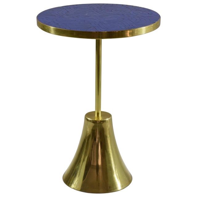 Z-II-I Contemporary Brass Mosaic Side Table, Flow Collection For Sale - Image 10 of 10