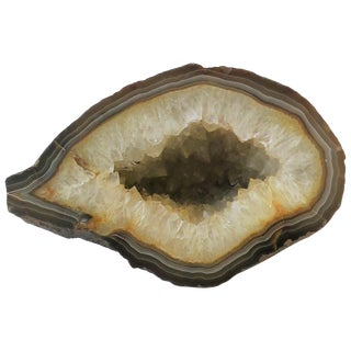 Natural Agate Geode White and Brown Scuplture For Sale