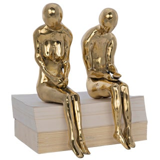 Irao Couple Statue, Large, Brass For Sale
