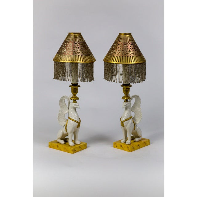Mid 20th Century Italian Porcelain Griffin Push-Up Candlesticks With Beaded Shades (Pair) For Sale - Image 5 of 12