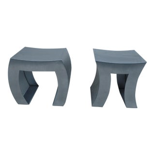 "Contempo Italian De Castelli Stainless Steel ""In and Out"" Benches - A Pair For Sale"