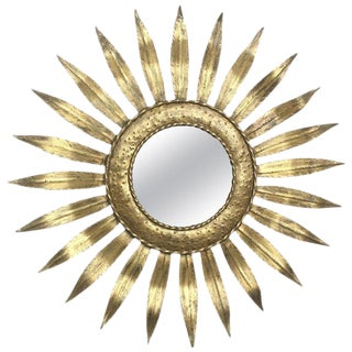 Mid-Century Modern Gilt Iron Layered Leafed Flower Shaped Sunburst Mirror For Sale