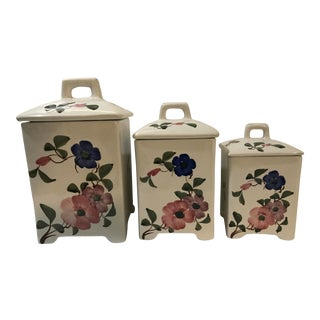 Late 20th Century Jay Wilfred: Andrea by Sadek Porcelain Canisters - Set of 3 For Sale