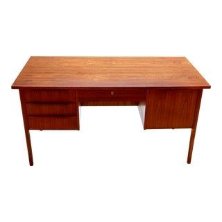 1960s Danish Modern Teak Executive Desk With File Drawer and Bookshelf For Sale