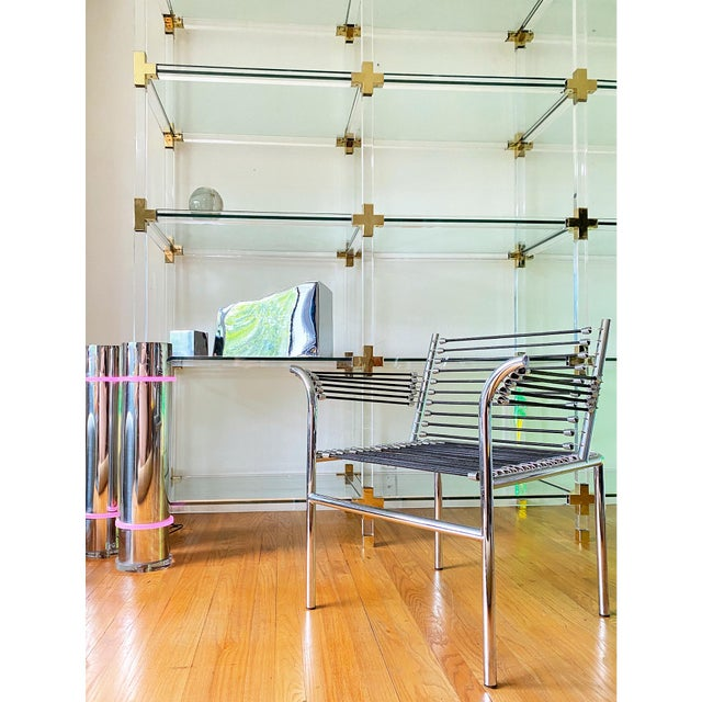 Metal Vintage Large Lucite Brass and Glass Bookcase Etagere For Sale - Image 7 of 9