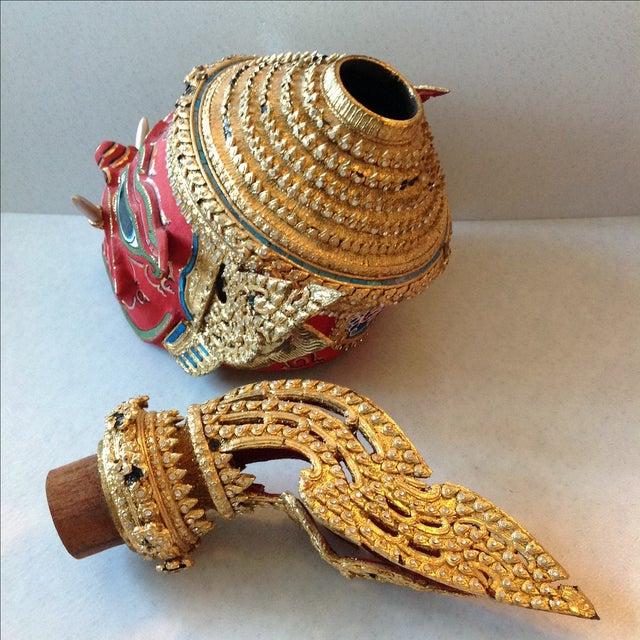 Antique Thai Demon Khon Mask - Image 9 of 11