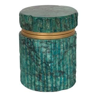Vintage Teal Stone Lidded Trinket Jar For Sale
