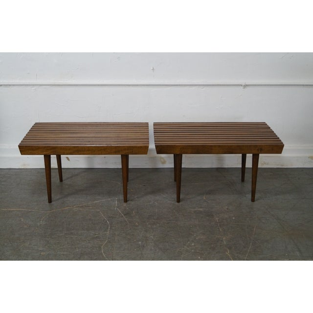 Mid-Century Modern Slat Tables / Benches - Pair - Image 2 of 10
