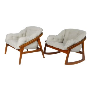 1960s Vintage Lounge and Rocking Chairs- A Pair For Sale
