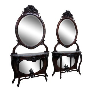Pair of Rosewood Marble Top Console Tables With Mirrors For Sale