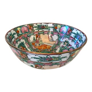 19c Antique Chinese Rose Medallion Bowl For Sale