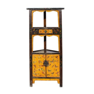 Distressed Yellow Flower Graphic Triangle Corner Display Cabinet For Sale