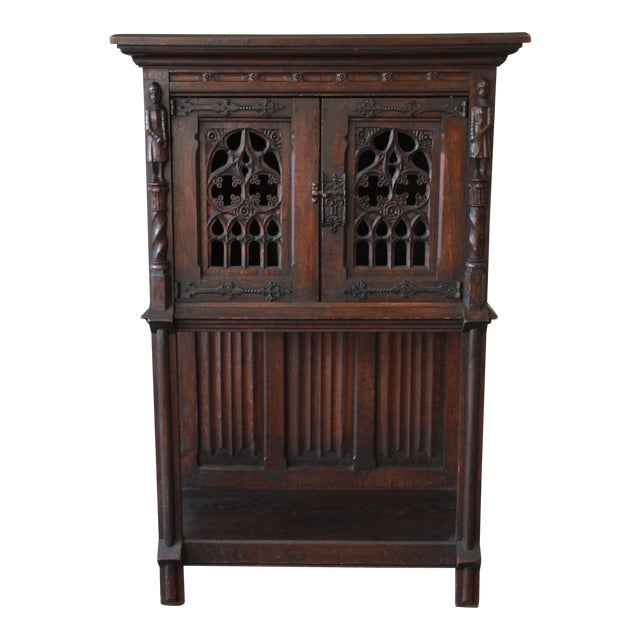 Antique Belgian Dark Oak Gothic Bar Cabinet, Circa 1850s - Image 1 of 11