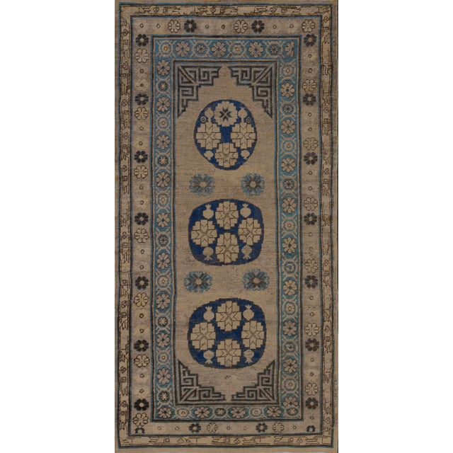 Traditional Antique Handwoven Wool Persian Khotan Runner For Sale In Los Angeles - Image 6 of 6