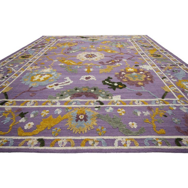 New colorful Oushak design rug with modern contemporary style. Stay ahead of home trends, purple accents are popping up...