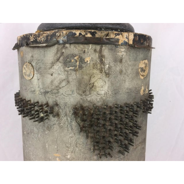 Antique French Wallpaper Roll Table Lamp For Sale - Image 5 of 11