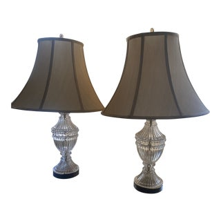 Urn Shaped Cut Glass Lamps - a Pair For Sale