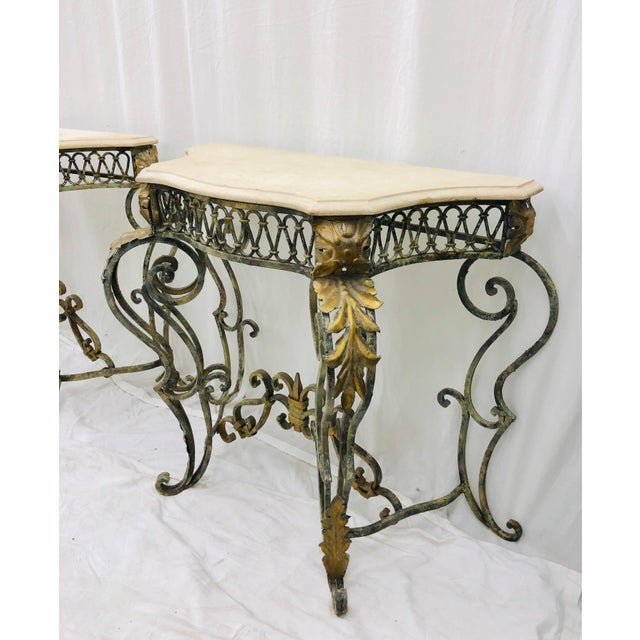 Gold Pair Vintage Wrought Iron & Stone Side Tables For Sale - Image 8 of 11