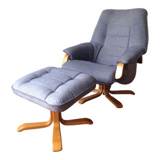 Danish Mid-Century Swivel Recliner & Ottoman