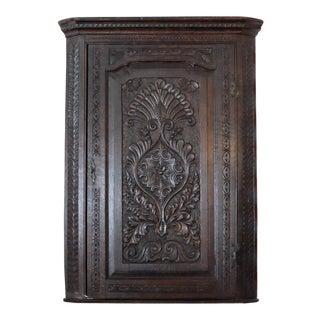 Antique English Oak Corner Cabinet For Sale