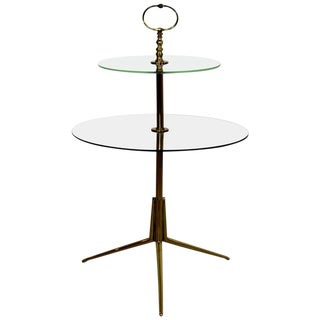 1950s Mid-Century Modern Cesare Lacca Italian 2-Tier Brass Glass Side End Table For Sale