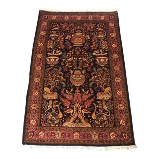 1940s Persian-Sarug Pictorial Animal Patterned Hand-Knotted Rug For Sale