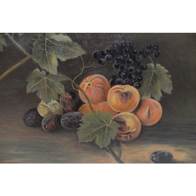 """Americana 19th Century """"Fruit Table"""" Still Life Oil Painting For Sale - Image 3 of 9"""