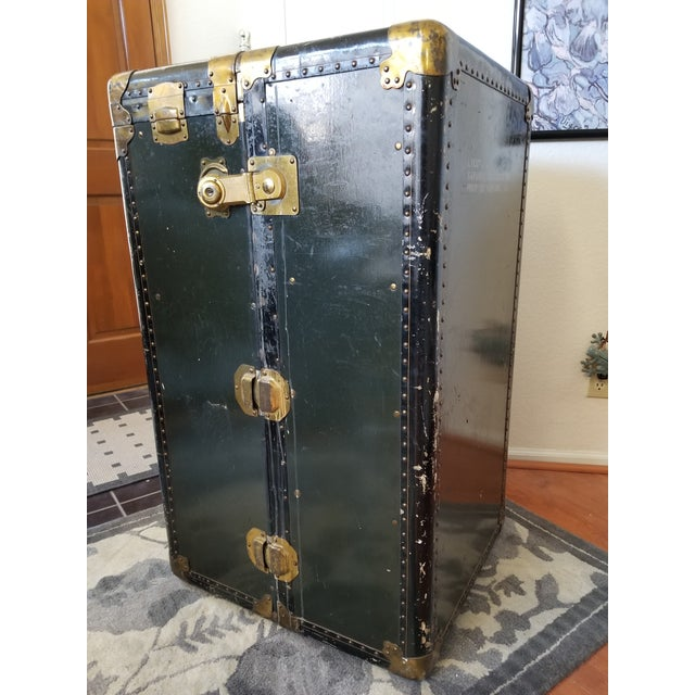 Green Antique Vintage Hartmann Steamer Military Travelers Trunk For Sale - Image 8 of 8